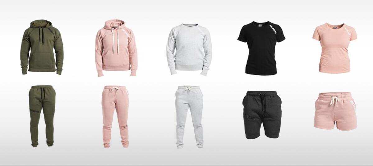 Klädesplagg i olika färger från MM Sports Basic Series
