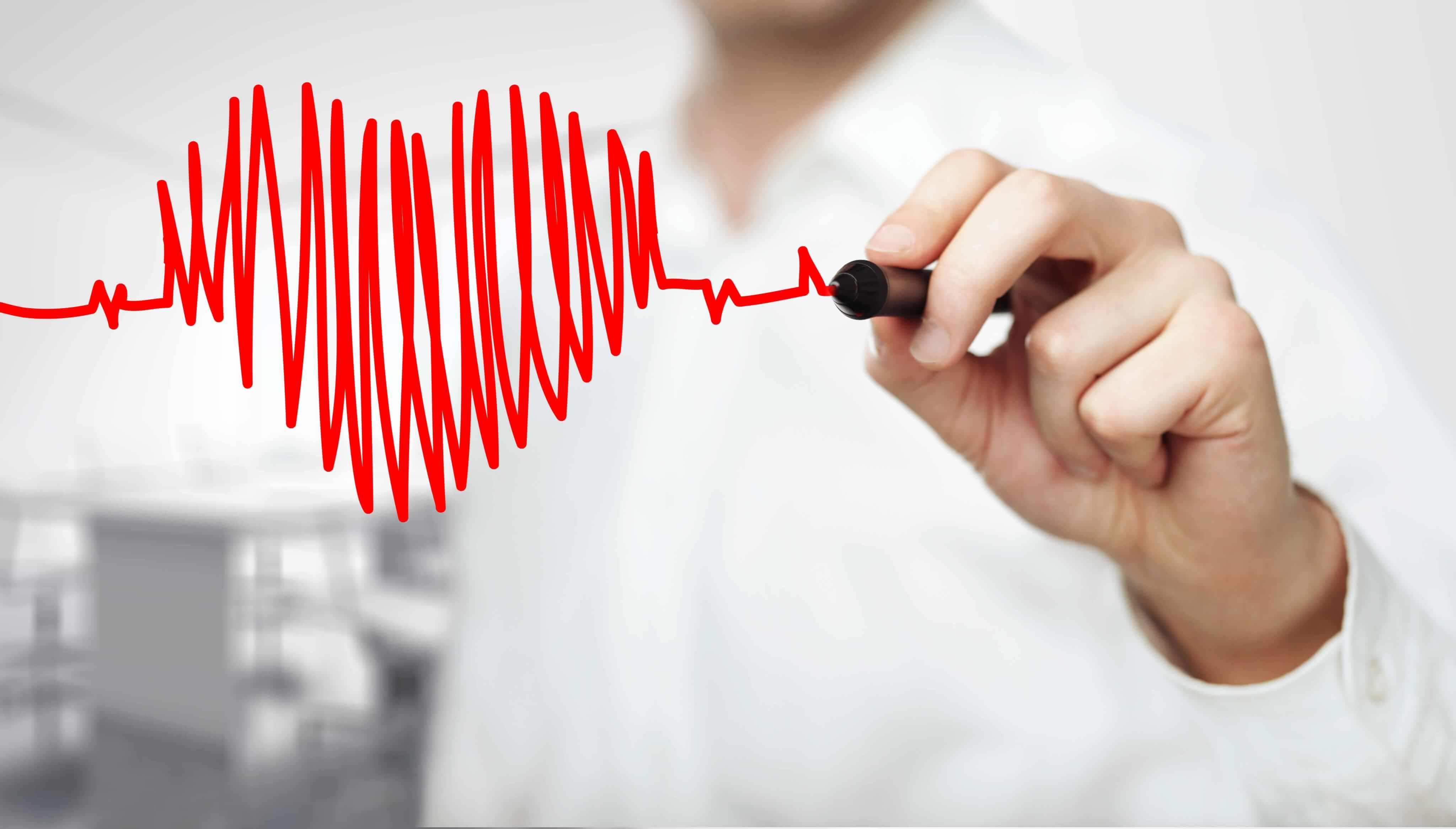 Ett ritat hjärta och hjärtslag