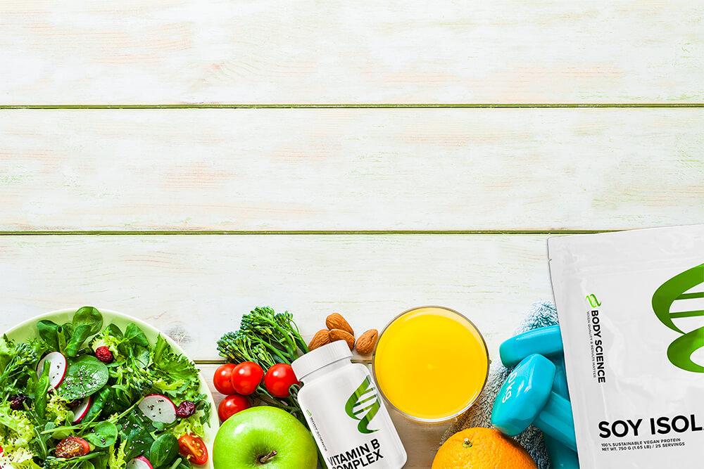Frukt, grönt och kosttillskott för veganer